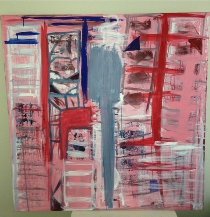 (CreativeWork) Pink City by Tom Gurney. arcylic-painting. Shop online at Bluethumb.