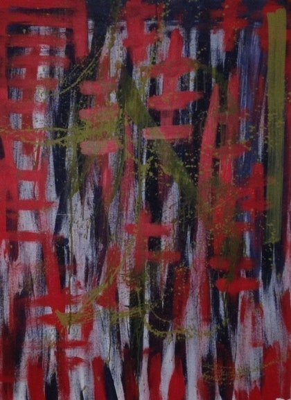 (CreativeWork) red forest by Tom Gurney. arcylic-painting. Shop online at Bluethumb.