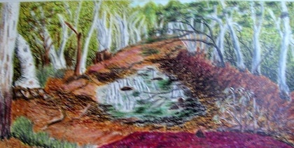 (CreativeWork) Argyle River by Mark Lawther. oil-painting. Shop online at Bluethumb.