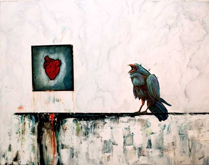 (CreativeWork) the Raven by Stephen Dobson. arcylic-painting. Shop online at Bluethumb.
