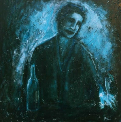 (CreativeWork) the Sommelier by Stephen Dobson. arcylic-painting. Shop online at Bluethumb.