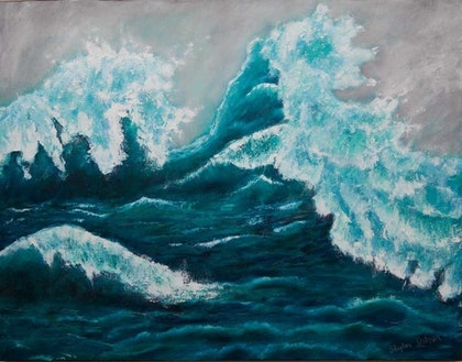 (CreativeWork) the Wave by Stephen Dobson. arcylic-painting. Shop online at Bluethumb.