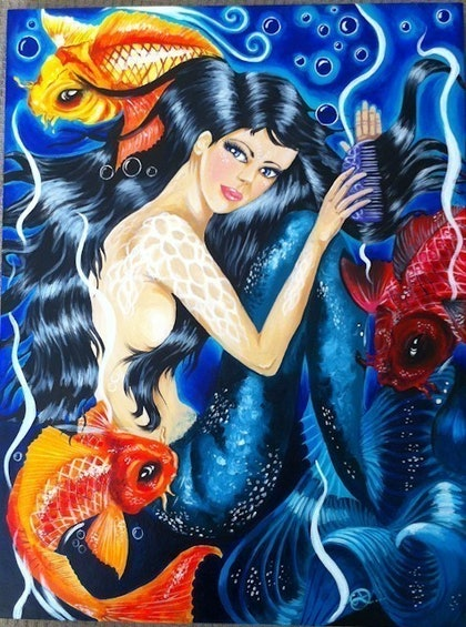 (CreativeWork) My Little Mermaid by Cassie Donnelly. arcylic-painting. Shop online at Bluethumb.
