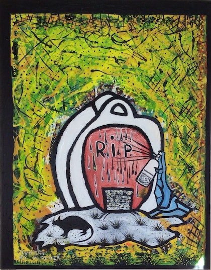 (CreativeWork) Death by Kleenex by Barry Claessen. mixed-media. Shop online at Bluethumb.