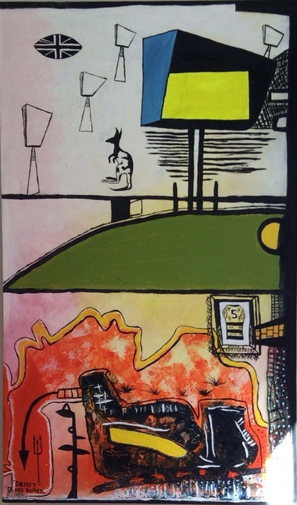 (CreativeWork) Draft scoreboard by Barry Claessen. oil-painting. Shop online at Bluethumb.