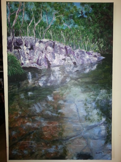 (CreativeWork) Reflections by Paula Maggs. arcylic-painting. Shop online at Bluethumb.