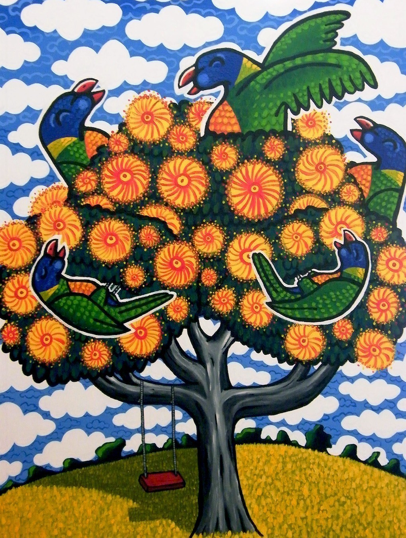 "(CreativeWork) ""The nectar tree"" (2012) by Mike Adey. arcylic-painting. Shop online at Bluethumb."