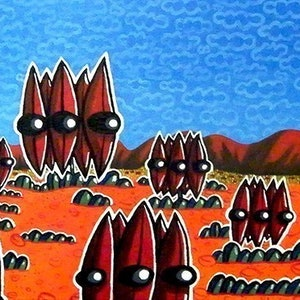 (CreativeWork) Sturt's desert peas (2012) by Mike Adey. arcylic-painting. Shop online at Bluethumb.