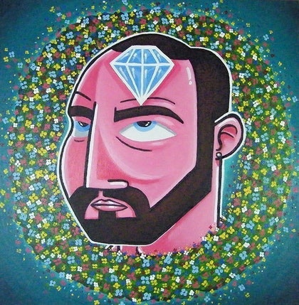 (CreativeWork) A diamond in the mind (2014) by Mike Adey. arcylic-painting. Shop online at Bluethumb.