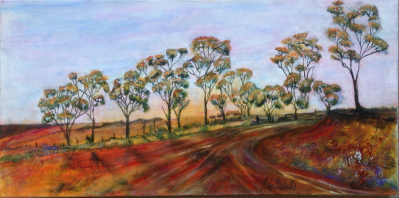 (CreativeWork) Farmland by Helen Tainsh. arcylic-painting. Shop online at Bluethumb.