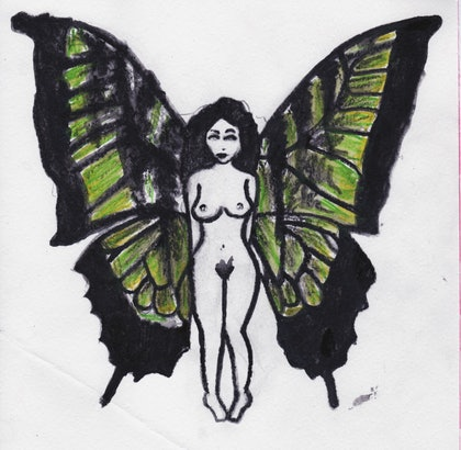 (CreativeWork) The Green Fairy (print) by Jema Griffiths. drawing. Shop online at Bluethumb.