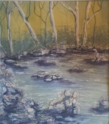 (CreativeWork) Fluid Serenity by Pam Sparre. watercolour. Shop online at Bluethumb.