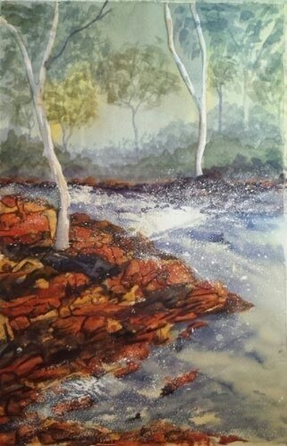 (CreativeWork) River Rapid NT by Pam Sparre. watercolour. Shop online at Bluethumb.