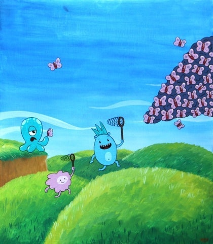 (CreativeWork) Chasing Jellyflies by Onno Knuvers. mixed-media. Shop online at Bluethumb.