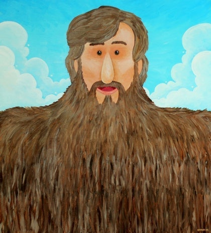 (CreativeWork) Jim's Beard by Onno Knuvers. arcylic-painting. Shop online at Bluethumb.