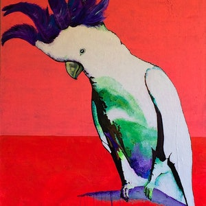 (CreativeWork) Punk rock cocky by Michelle Avery. arcylic-painting. Shop online at Bluethumb.