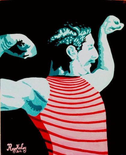 (CreativeWork) The Strongman by Roy Maloy. oil-painting. Shop online at Bluethumb.