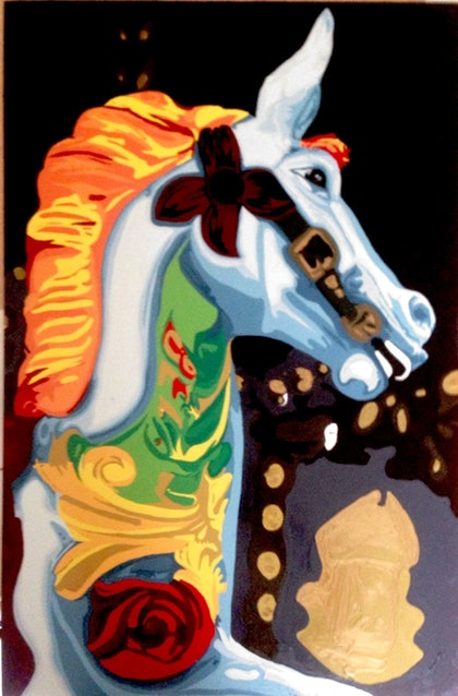 (CreativeWork) Carousel Bela by Roy Maloy. oil-painting. Shop online at Bluethumb.