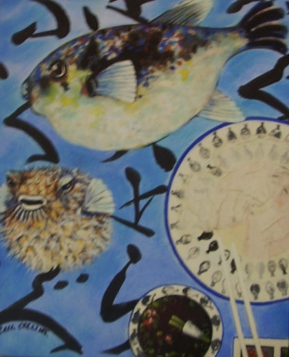 (CreativeWork) FUGU by gail collins. mixed-media. Shop online at Bluethumb.