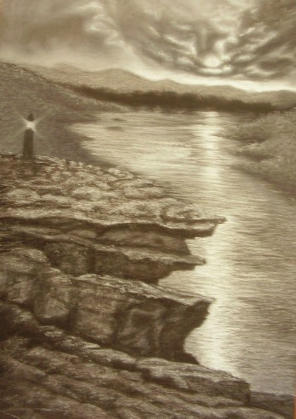 (CreativeWork) BYGONE LANDSCAPE 2 by gail collins. drawing. Shop online at Bluethumb.