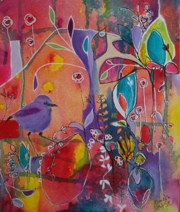 """(CreativeWork) """"She wasn't really sure if she could but then she realised she could do anything she wanted....so she did it! by Donna Munro. Acrylic. Shop online at Bluethumb."""