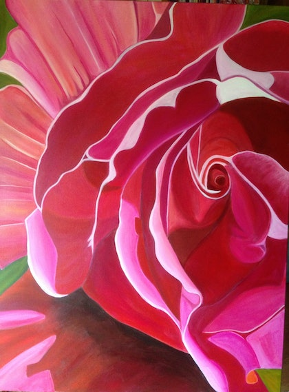 (CreativeWork) Bloom in pink by Alessandra Del Basso. arcylic-painting. Shop online at Bluethumb.