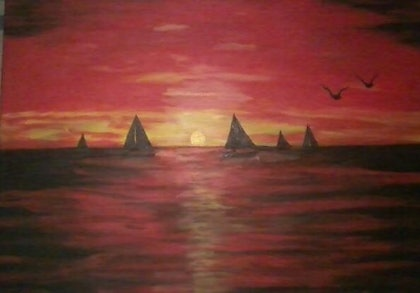(CreativeWork) Sunset Sailing by Christopher Eades. arcylic-painting. Shop online at Bluethumb.