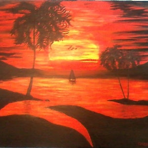 (CreativeWork) Mystic Lagoon by Christopher Eades. arcylic-painting. Shop online at Bluethumb.