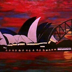 (CreativeWork) Opera lights by Christopher Eades. arcylic-painting. Shop online at Bluethumb.