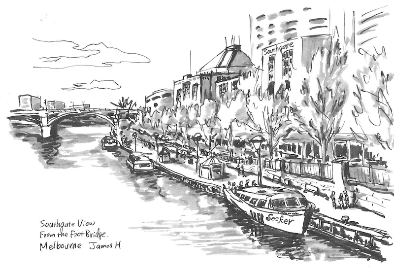 (CreativeWork) Southgate view from the footbridge in Melbourne city by james hou. drawing. Shop online at Bluethumb.