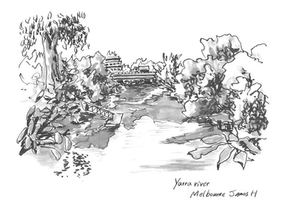 (CreativeWork) Bridge on yarra river Melbourne by james hou. drawing. Shop online at Bluethumb.