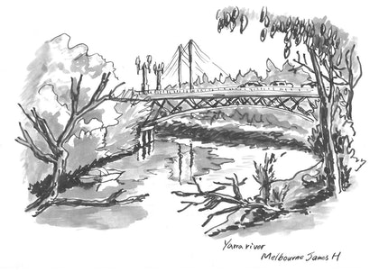 (CreativeWork) Jetty on yarra river Melbourne by james hou. drawing. Shop online at Bluethumb.