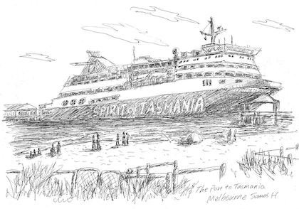 (CreativeWork) Spirit of Tasmania by james hou. drawing. Shop online at Bluethumb.