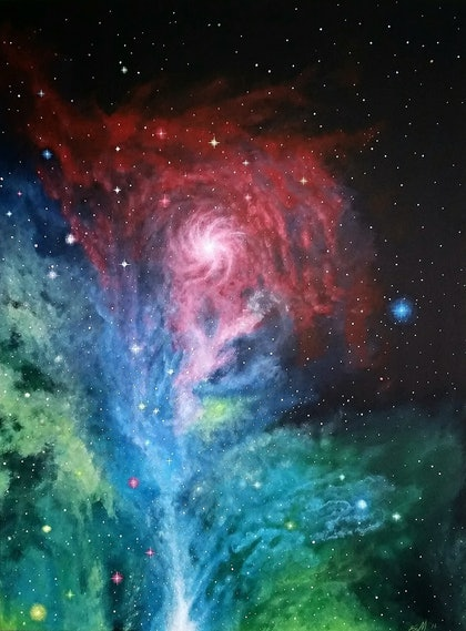 (CreativeWork) Galactic Bloom 2014 by Bryn McIntyre. arcylic-painting. Shop online at Bluethumb.