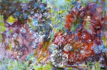 (CreativeWork) Garden Heat by Gillian Perrett. oil-painting. Shop online at Bluethumb.