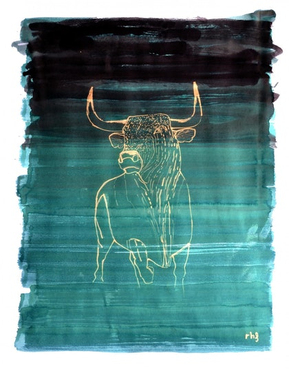 (CreativeWork) Bright bull by Rubén Hernández. other-media. Shop online at Bluethumb.