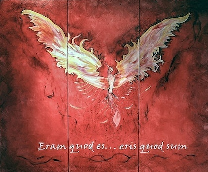 (CreativeWork) The Phoenix by Martine Louise. oil-painting. Shop online at Bluethumb.