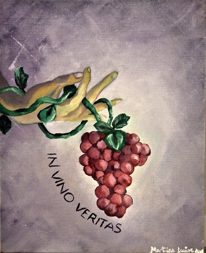 (CreativeWork) Truth in Wine by Martine Louise. oil-painting. Shop online at Bluethumb.