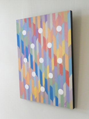 (CreativeWork) White Discs by Barry Johnson. Acrylic Paint. Shop online at Bluethumb.
