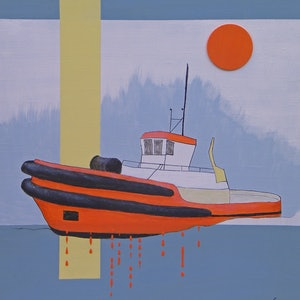 (CreativeWork) Red Tug by Barry Johnson. mixed-media. Shop online at Bluethumb.