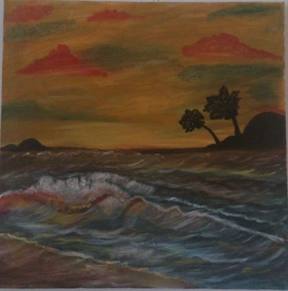 (CreativeWork) Sunset Beach by Sri Bhargavi. arcylic-painting. Shop online at Bluethumb.