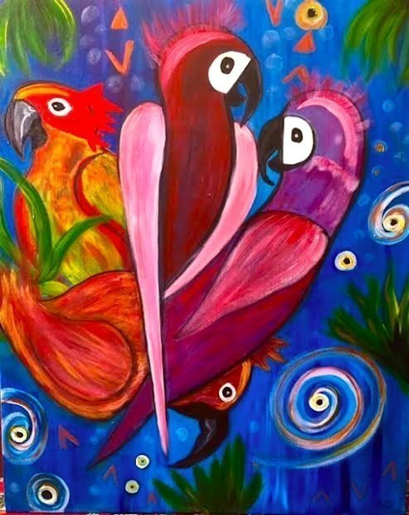 (CreativeWork) Eye On The Storm' Ready To Hang' Parrots 60x75x3.5 by Louise Croese. arcylic-painting. Shop online at Bluethumb.
