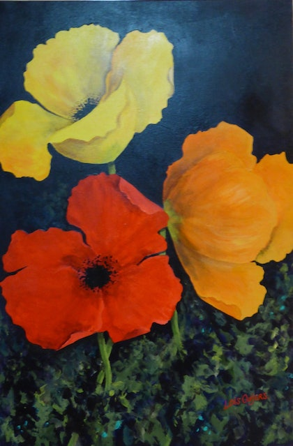 (CreativeWork) Poppy Garden by Lois Outjers. arcylic-painting. Shop online at Bluethumb.