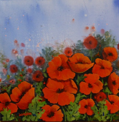 (CreativeWork) Poppy Field by Lois Outjers. arcylic-painting. Shop online at Bluethumb.