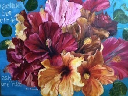 (CreativeWork) Hibiscus in Bloom by Toni Brown. oil-painting. Shop online at Bluethumb.