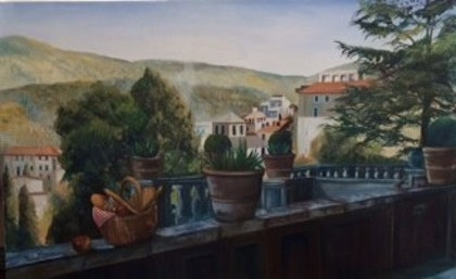 (CreativeWork) A Day in Florence by Toni Brown. oil-painting. Shop online at Bluethumb.