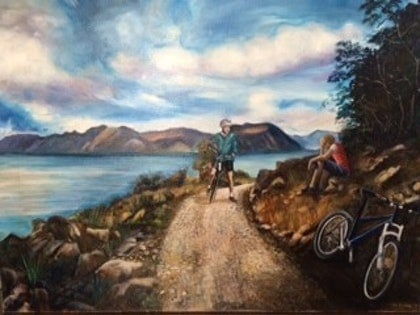 (CreativeWork) Cycling by Toni Brown. oil-painting. Shop online at Bluethumb.