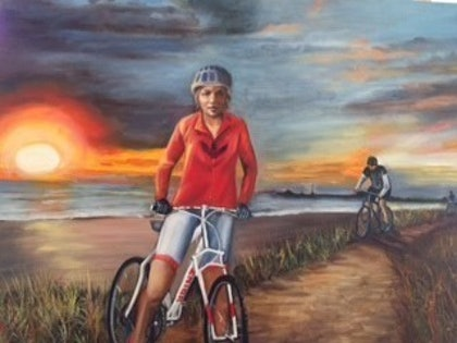 (CreativeWork) Cycler by Toni Brown. oil-painting. Shop online at Bluethumb.