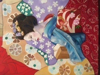 (CreativeWork) Geisha Girl by Toni Brown. oil-painting. Shop online at Bluethumb.