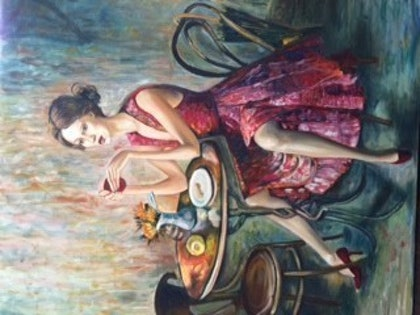 (CreativeWork) Cafe Girl by Toni Brown. oil-painting. Shop online at Bluethumb.